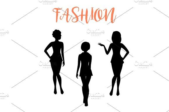 Fashion Woman Silhouette In Tight Dresses