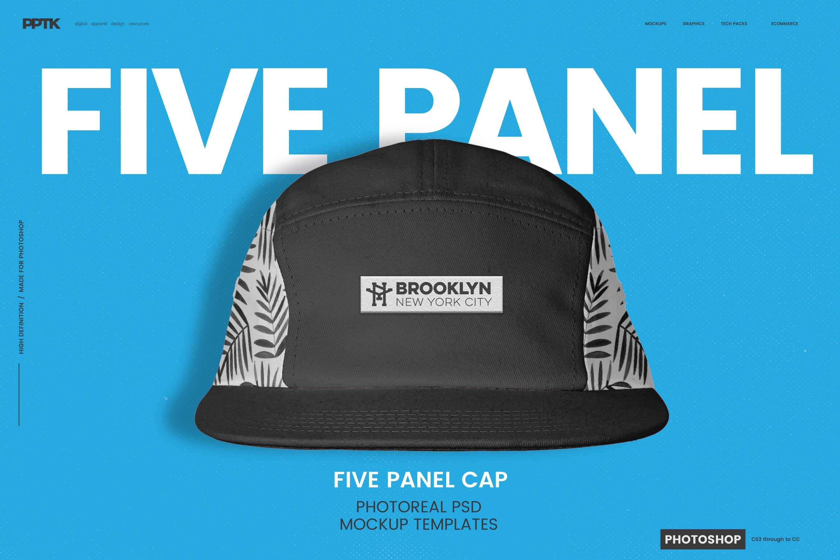 5 Panel Cap Photoshop Templates ~ Product Mockups ~ Creative Market