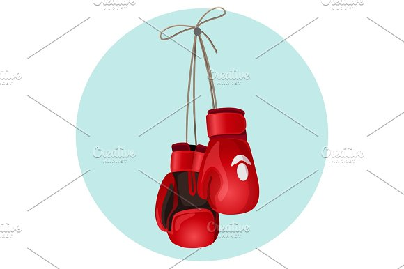 Boxing Leather Gloves In Red And Black Color Vector Illustration