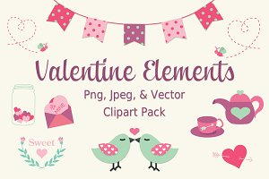 Valentines Day Vector Clip Art Set