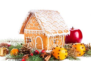 gingerbread house and decor