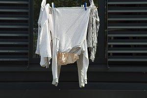 White laundry on black background