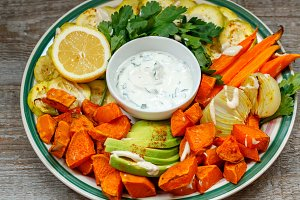 sweet potato, zucchini and carrots