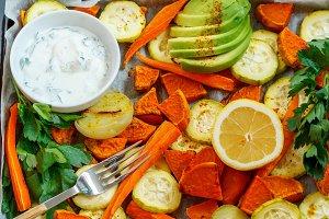 sweet potato, zucchini and carrots