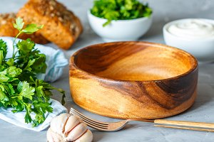 wooden bowl for salad or soup