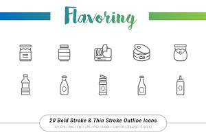 20 Flavoring Outline Stroke Icons