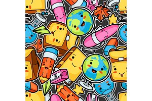 Kawaii school seamless pattern with cute education supplies