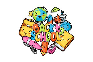 Back to school. Kawaii design with cute education supplies