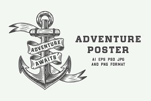 Vintage adventure poster with anchor