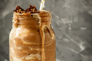 Chocolate smoothie in glass jar