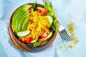 Healthy salad with bulgur