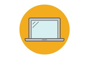 Laptop flat line icon