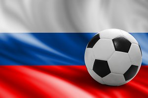 Soccer ball on russia flag