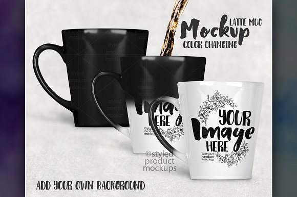 Download Color Changing Latte Mug Mockup 12oz
