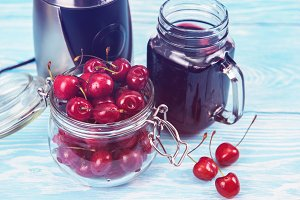 Cherry juice with glass of berries
