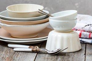Empty bowls, plates