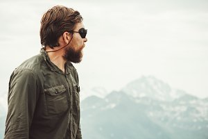 Bearded Man enjoying mountains view