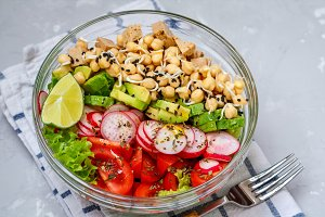 salad with tofu, chickpeas, avocado