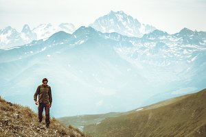 Man hiking Travel Lifestyle concept