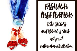 Red shoes watercolor illustration
