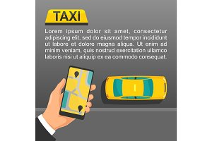 Hand hold phone with interface on a screen booking taxi service.