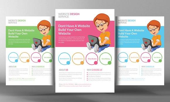 Website Design Flyer Template Flyer Templates on Creative Market – Web Flyer Template