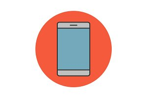 Mobile phone flat line icon