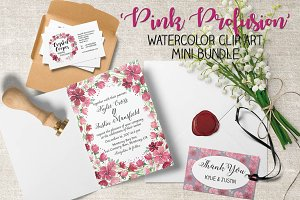Watercolor bundle: 'Pink Profusion'