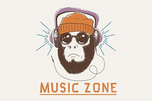 Music fan hipster monkey