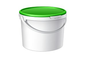 White plastic bucket with Green lid
