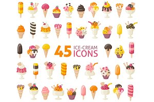 45 Ice Cream Icon Set