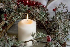 Candle and Christmas wreath