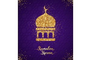 Ramadan Kareem greeting card with arabian mosque