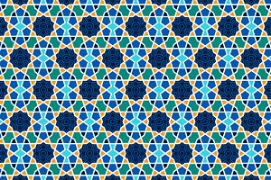 Arabesque seamless pattern with stars on blue