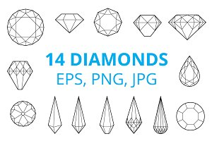 Diamonds & Gemstones (EPS, PNG, JPG)