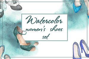 Watercolor women's shoes set