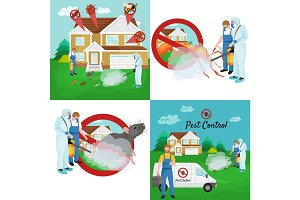 Pest control concept with insects exterminator silhouette flat vector illustration