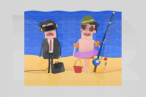 Businessman and fisherman on beach