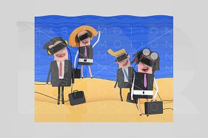 Business people at beach with VR set