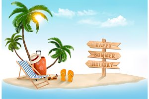 Vacation vector background. Vector.