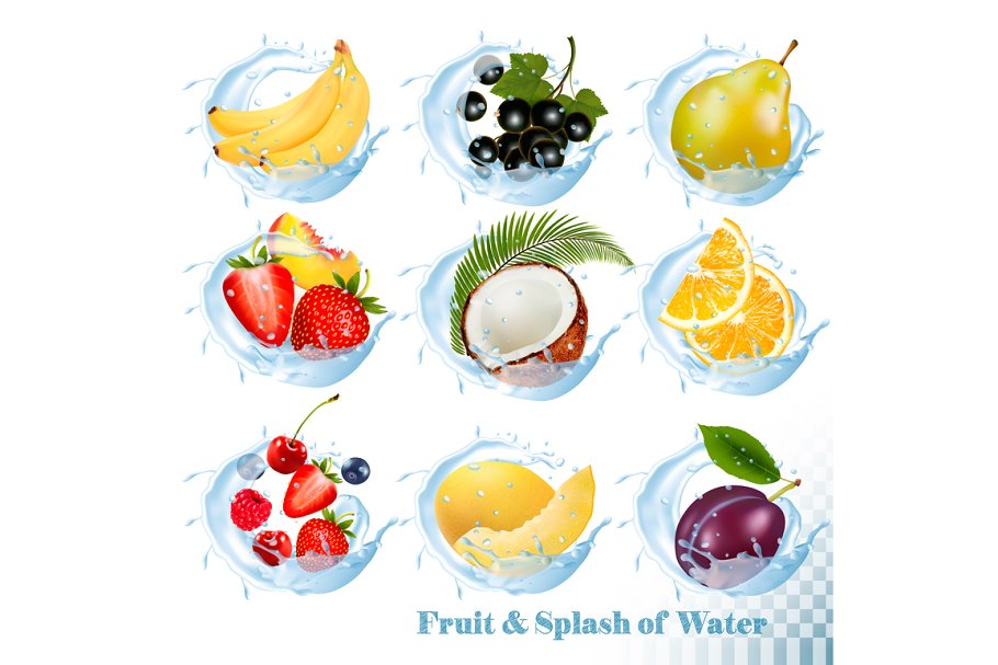 Fruit in a water splash icons.