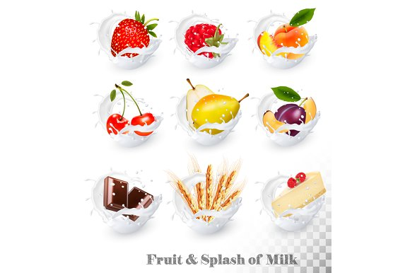 Collection Of Fruit In A Milk Splash