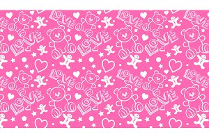 love, pink seamless pattern