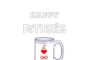 Happy Father's Day, text and coffee