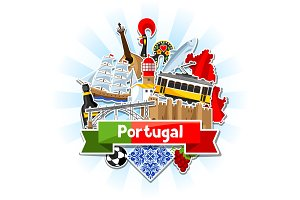 Portugal background with stickers. Portuguese national traditional symbols and objects