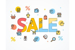 Sale Concept Flat and Paper Art.
