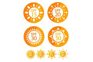 Sun Cream Labels Spf Set.
