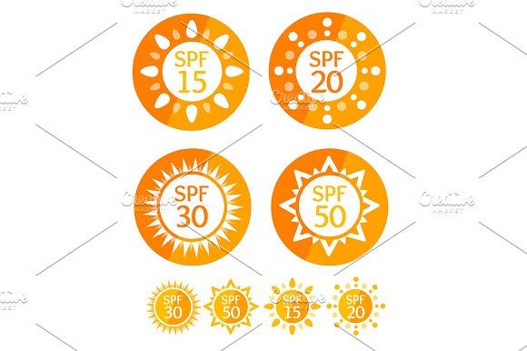 Sun Cream Labels Spf Set.