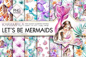 Let's Be Mermaids PNG Patterns
