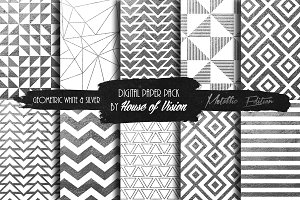 Geometric Wht and Silver Pack